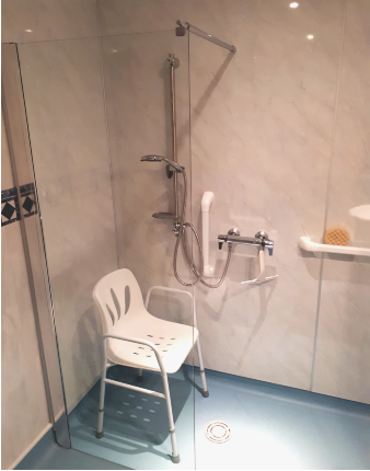 Level access shower bathroom adaptations