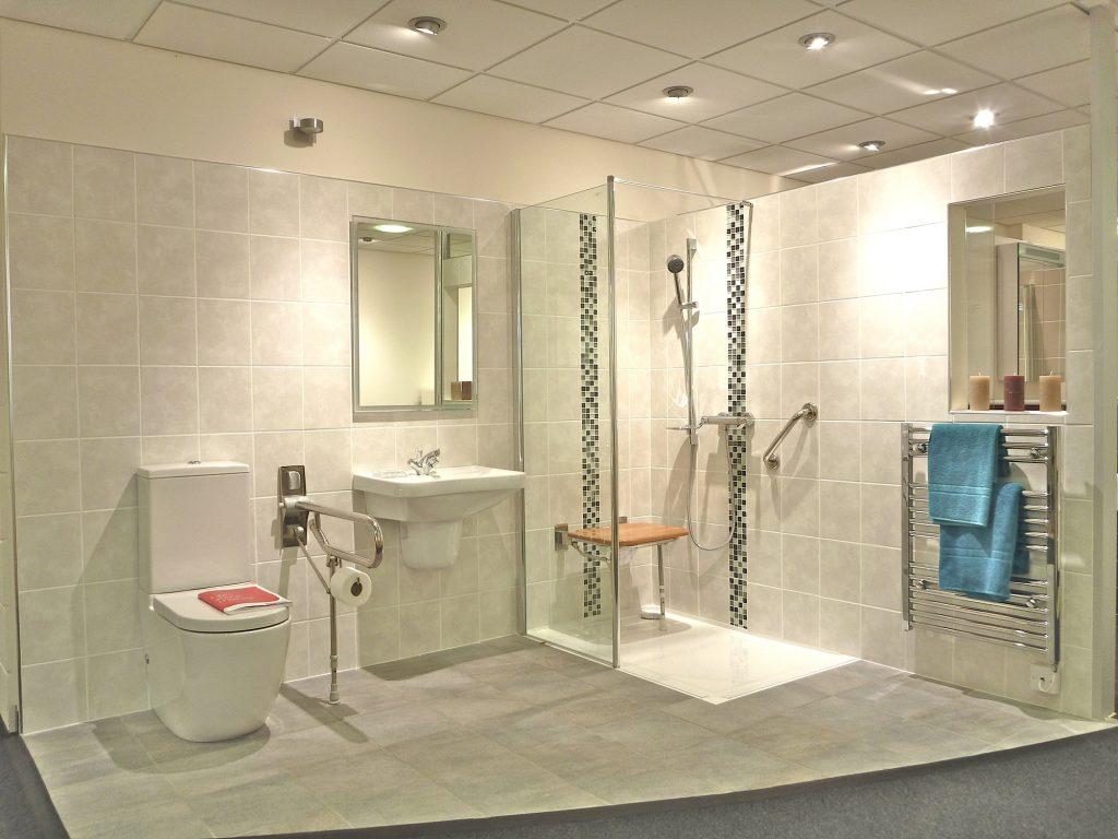 safe level access shower bathroom